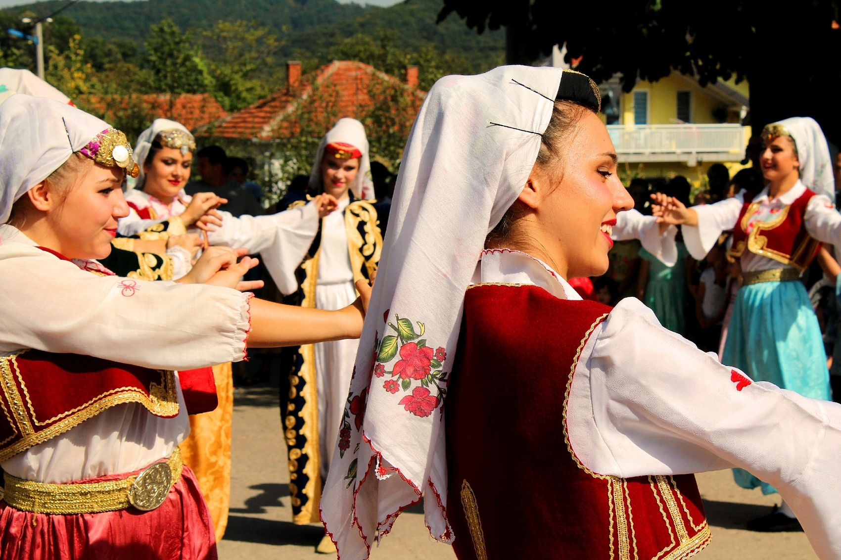 Beautifull girls dancing national dance  in Bosnia,Balkan