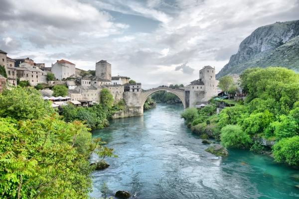 Old bridge in Mostar pearl of Balkan